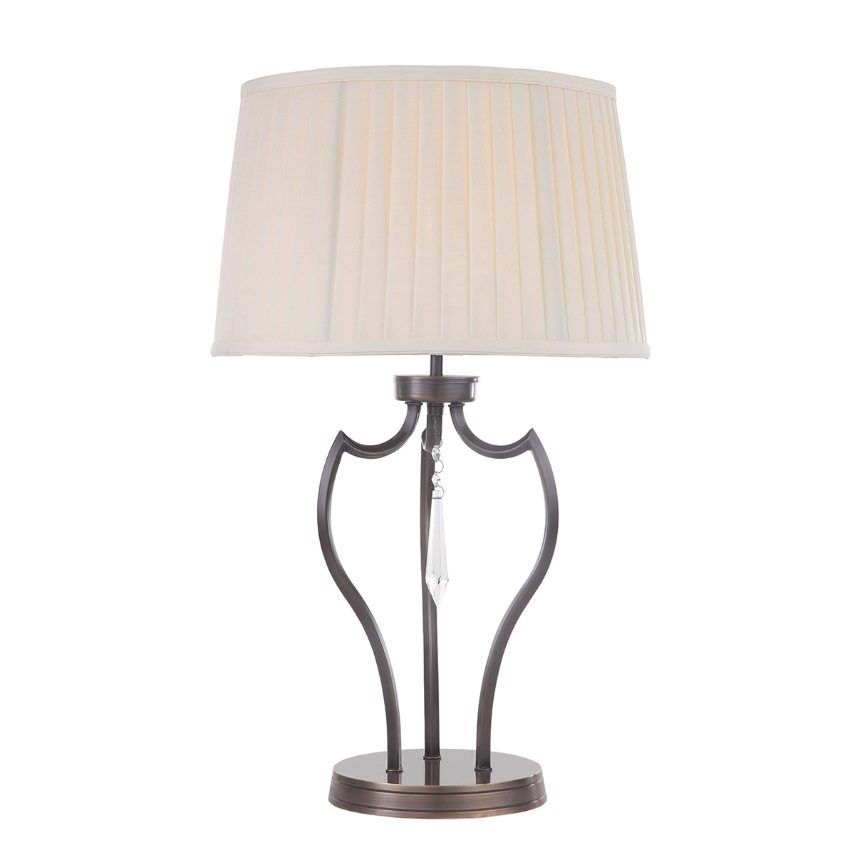 25001 Table Lamp In Dark Bronze With Cut Glass Droplet Distinctive Lighting Uk