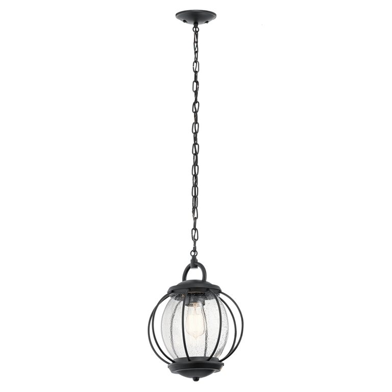 30422 1 Light Chain Lantern In Textured Black