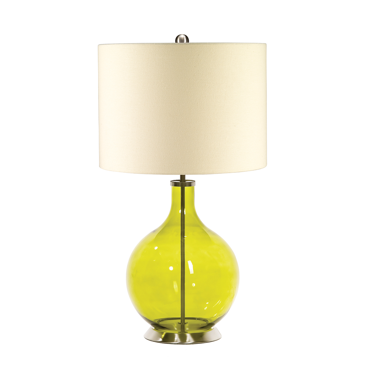 31332 - Table Lamp In Lime Green Glass And Brushed Nickel ...